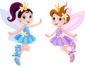 Two cute fairies illustration of in fly Stock Photography
