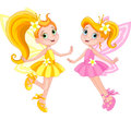 Two cute fairies illustration of in fly Royalty Free Stock Images