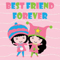 Two Cute girls on pink striped background cartoon, Kid postcard, wallpaper, and greeting card