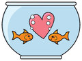 Two cute goldfish staring each other love Stock Images
