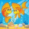 Two cute goldfishes Stock Photography
