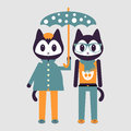 Two cute kittens under umbrella stylish Stock Photography