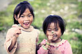 Two cute little Vietnamese girl Royalty Free Stock Photo