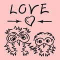 Two cute owls in love, an inscription Love and heart