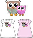 Two cute owls pattern for children fashion industry Royalty Free Stock Image
