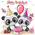 Two Cute Pandas and ladybug with balloon and bonnets