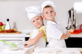 Two cute proud young chefs Royalty Free Stock Photo