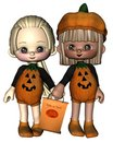 Two Cute Toon Trick-or-Treaters Stock Photography
