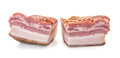 Two cuts of bacon closeup big smoked over white background shallow focus horizontal shot Stock Photos