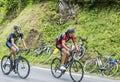 Two cyclists on col du tourmalet tour de france july the daniel oss bmc racing team and jesus herrada lopez movistar team climbing Stock Image