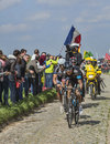 Two cyclists on paris roubaix carrefour de l arbre france april geraint thomas sky bert de backe giant shimano riding the famous Stock Photos