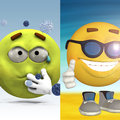 Two d emoticons one feels sick and the other is happy standing on the beach Royalty Free Stock Image