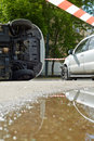 Two damaged cars place accident day Royalty Free Stock Photo