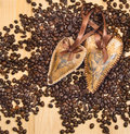 Two decoration of heart on the coffee Royalty Free Stock Images