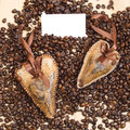 Two decoration of heart on the coffee Royalty Free Stock Image