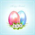 Two decorative easter eggs with flowers and ornate frame on blue background illustration Stock Images