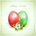 Two decorative easter eggs on green background with flower and ornate frame illustration Royalty Free Stock Photo