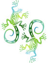 Two decorative green lizards Stock Images