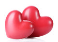 Two decorative red hearts Stock Images
