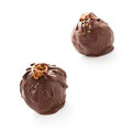 Two delicious dark chocolate candies isolated on a white backgr liqueur background closeup Royalty Free Stock Photo