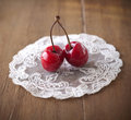 Two delicious ripe cherries Royalty Free Stock Photo
