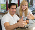 Two dental technicians showing thumbs up Royalty Free Stock Photo