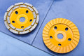 Two Diamond disks for a concrete abrasion Royalty Free Stock Image