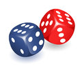 Two dice gambling, game cubes, Precision dice red and blue, Set of different dice
