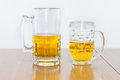 Two Different Beer Mugs Half Full with Lager Stock Photography