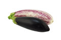 Two different types eggplant isolated white Royalty Free Stock Photography