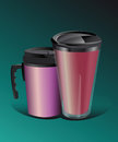Two different types of thermos mug with comfortable caps Stock Photos