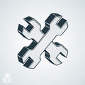 Two dimensional spanners crossed vector illustration. 3d Royalty Free Stock Photo