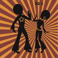 Two disco dancers, retro illustration of seventies Royalty Free Stock Photo