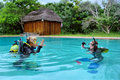 Two divers exercising in training pool shot sodwana bay kwazulu natal province southern mozambique area south africa Stock Images