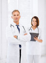 Two doctors in hospital healthcare and medical concept Royalty Free Stock Images