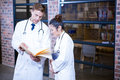 Two doctors looking at file and discussing near library in hospital Royalty Free Stock Image