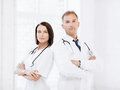 Two doctors with stethoscopes healthcare and medical concept Stock Photography