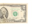 Two dollar bill close up on white Stock Images