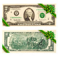Two dollar bill gift bow Royalty Free Stock Photo