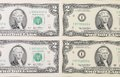 Two dollar bills background. Royalty Free Stock Photo