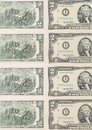 Two-dollar bills. Close up. Royalty Free Stock Photo