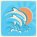 Two dolphins and sun.Vector retro illustration of parent and bab