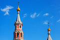 Two domes of orthodox church with golden crosses against the blue sky Royalty Free Stock Photo