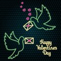 Two dove carry love letters to addressees. Neon glow. Colored vector illustration. Isolated background. Royalty Free Stock Photo