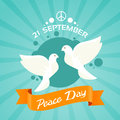 Two Dove Peace Day Holiday Poster Royalty Free Stock Photo