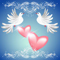 Two dove and two hearts Stock Photo