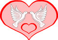 Two doves in heart for valentine s day design Stock Photography