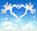 Two doves in the sky Stock Photography