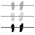 Two doves on a wire Royalty Free Stock Photos