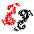 Two dragons red and black, in fight, silhouette on white backgro